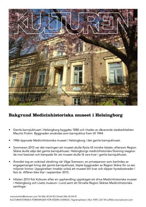 Bakgrund Medicinhistoriska museet i Helsingborg (pdf)