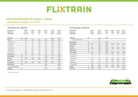 Fahrplan FlixTrain - Verbindung Aachen - Leipzig