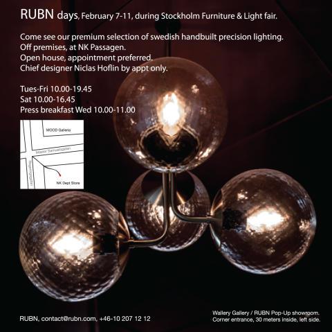 PRESSFRUKOST – RUBN pop-up showroom, 8/12, 10.00, Wallery, NK-passagen