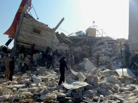 Förstört sjukhus i Ma'arat Al Numan som Läkare Utan Gränser stöttar