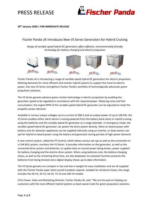 Fischer Panda UK Introduces New VS Series Generators for Hybrid Cruising
