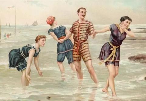 Detta är ungefär hur badkläder såg ut för 200 år sedan? Låt oss ta en titt på hur badkläder har utvecklats!