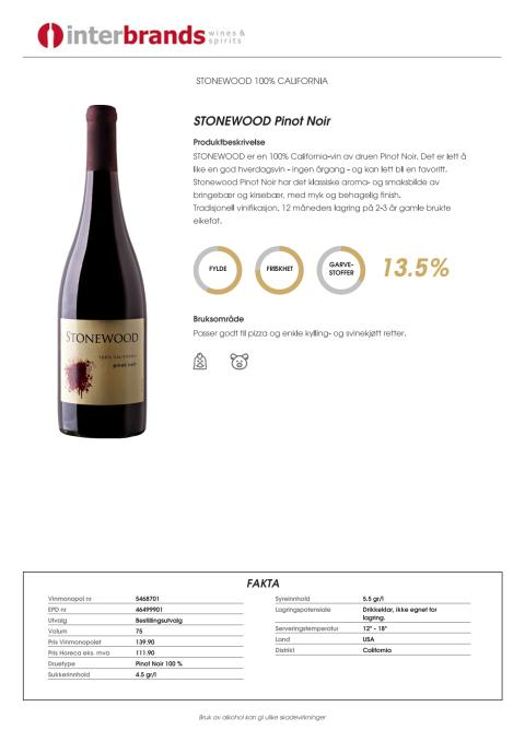 Produktark - Stonewood - Pinot Noir