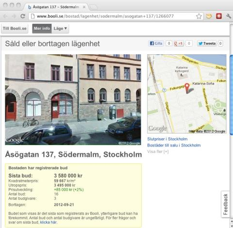 Slutpriser på bostadsrätter lanseras av bostadssajten Booli.se