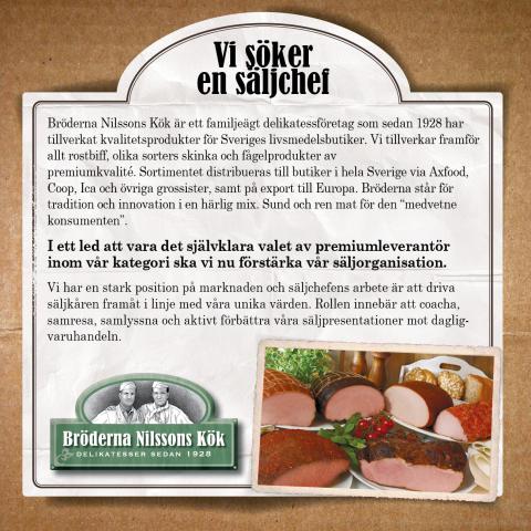 Bröderna Nilssons Kök söker säljchef