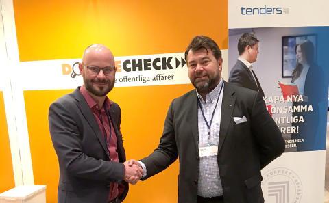 Jonas Jarl, VD Tenders Sverige AB och Fredrik Tamm, VD, grundare och PR-ansvarig DoubleCheck AB.