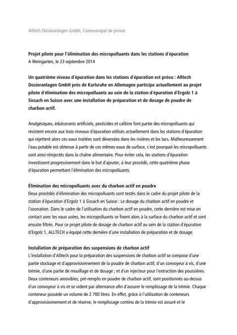 Communiqué de press Elimination des micropolluants 23.09.14
