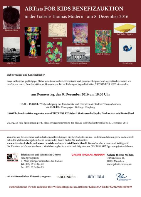 Einladung Benefizauktion ARTISTS FOR KIDS