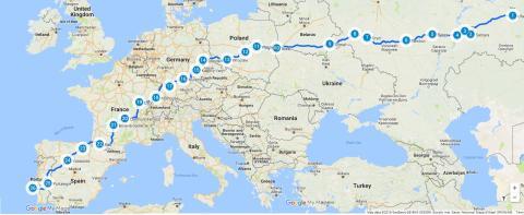 Karta med rut över Europa