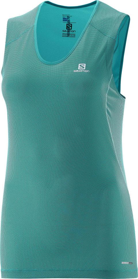 Salomon Trail runner sleeveless tee W, teal blue