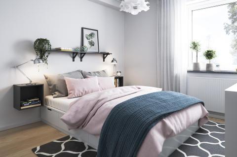 Illustration av sovrum, BoKlok-lägenhet, 2 rok, 2019.