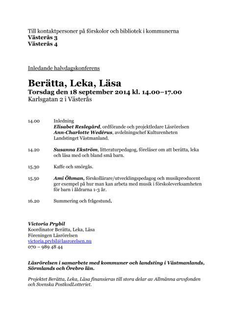 Berätta, Leka, Läsa Västerås 18 september 2014