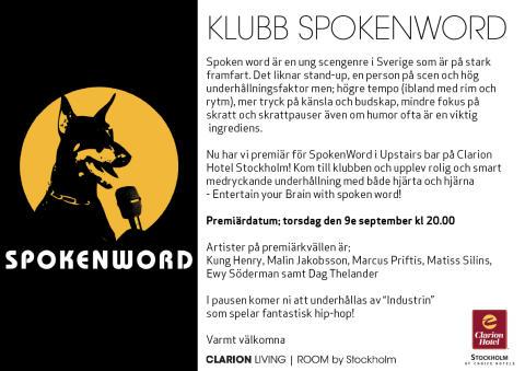 Kvällens premiär av SpokenWord i Living Room by Stockholm
