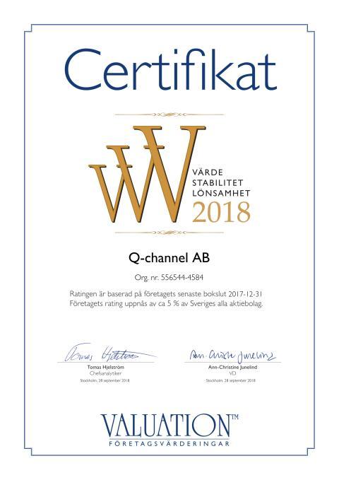 Q-channel´s rating uppnås av ca 5 % av Sveriges alla aktiebolag enligt Valuation Företagsvärderingar i Sverige AB.