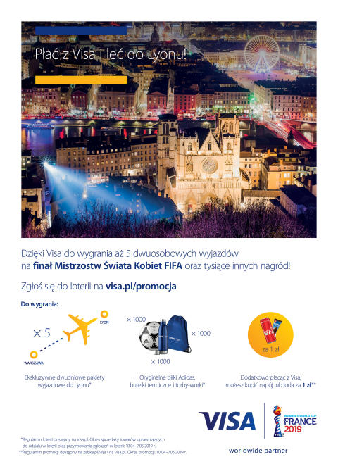 Visa świętuje Mistrzostwa Świata Kobiet FIFA we Francji loterią i promocją konsumencką w sklepach Żabka i Freshmarket w całej Polsce