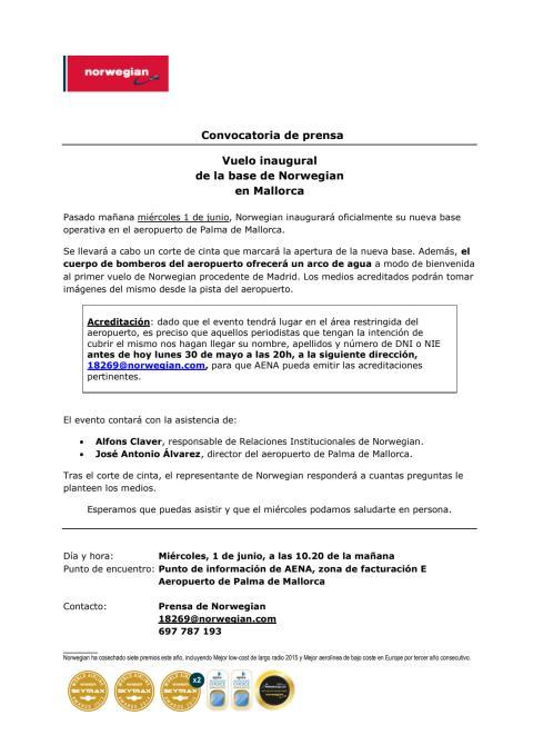 Descarga convocatoria: aeropuerto de Palma de Mallorca (miércoles 1 de junio, 10.20 de la mañana).