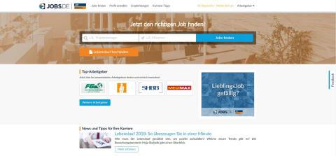 Screeenshot der aktuellen Jobs.de Startseite nach dem Re-Launch Februar 2018