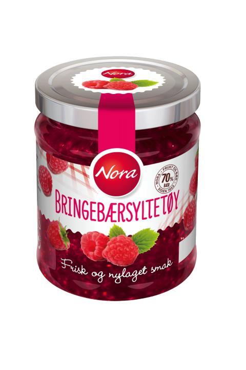 Nora Bringebærsyltetøy friskt og nylaget med 70 prosent bær