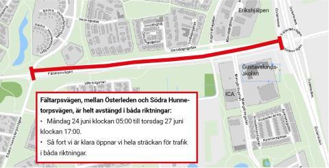 Fältarpsvägen avstängd 24-27 juni på grund av asfaltering