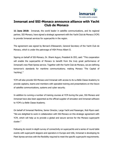 Inmarsat and SSI-Monaco announce alliance with Yacht Club de Monaco