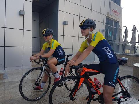 Sara Penton och Emilia Fahlin i Doha