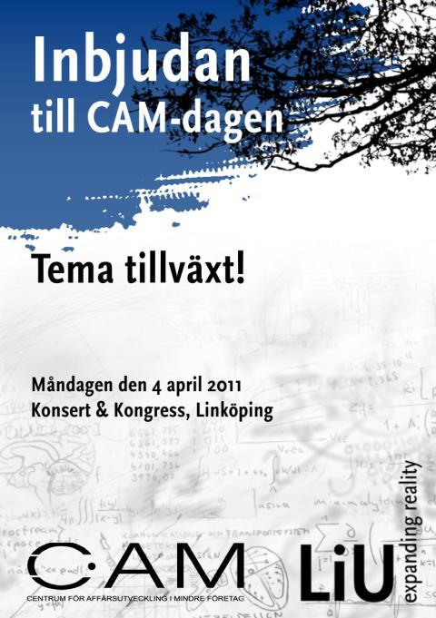 Inbjudan till att diskutera Tillväxtfrågor i Östergötland, CAM-dag 4 april