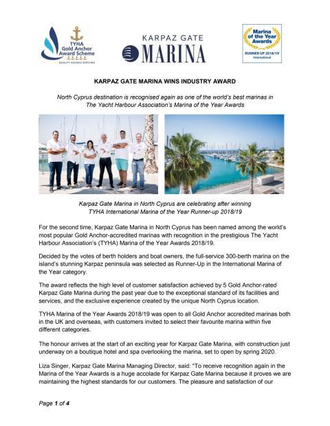 Karpaz Gate Marina Wins Industry Award