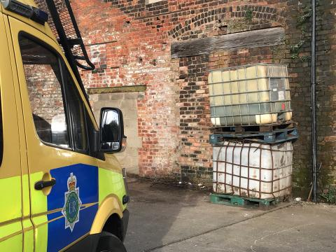 Matrix officers at industrial premises in St Helens