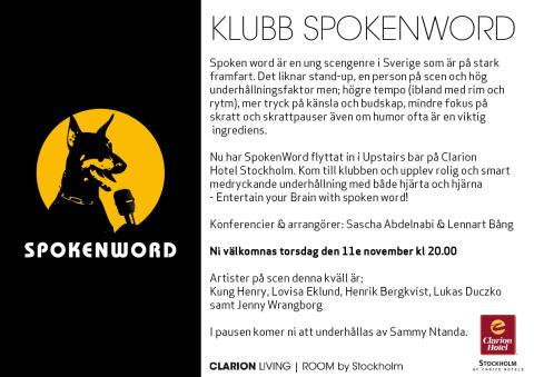Spoken Word på Clarin Hotel Stockholm