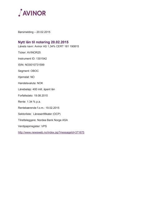 Nytt sertifikatlån til notering 20.02.2015