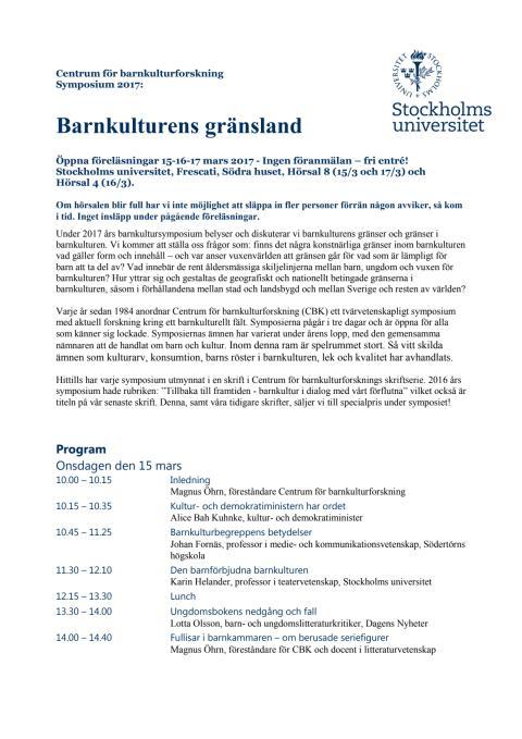 Program Barnkultursymposium 2017: Barnkulturens gränsland