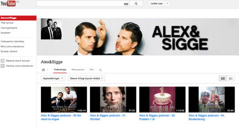 Skärmdump Alex och Sigge på YouTube