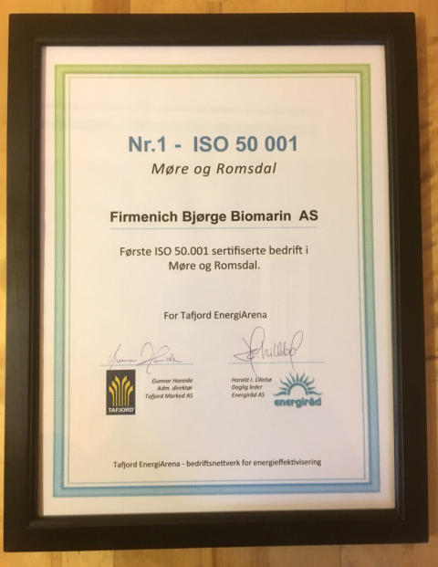 Firmenich ISO-sertifisert Energiledelse
