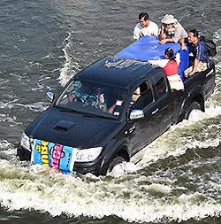 Vattenmassorna har ännu inte nått centrala Bangkok