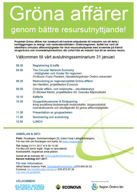 Seminarium - Gröna affärer genom bättre resursutnyttjande!