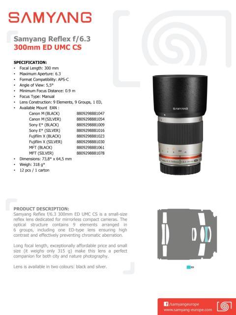 Samyang 300mm 6,3 CS datablad