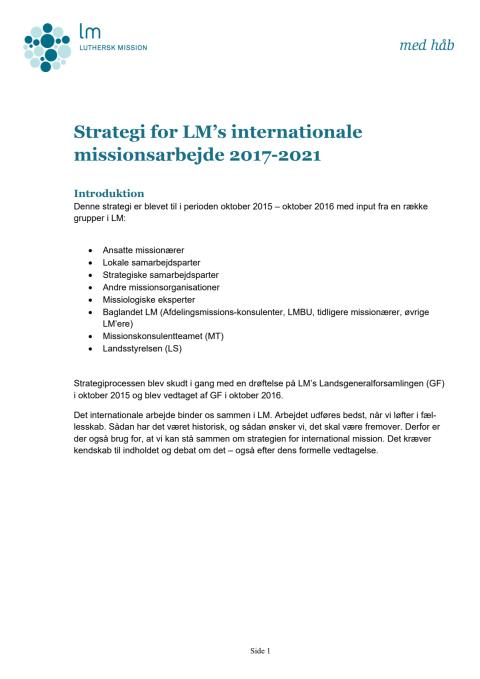 Strategi for international mission