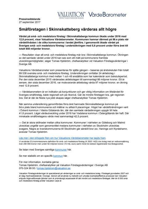 Värdebarometern 2017 Skinnskattebergs kommun