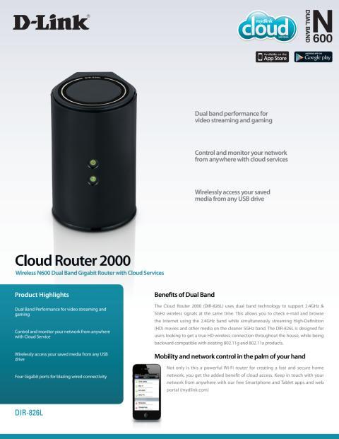 Produktblad, Cloud Gigabit Router N600 (DIR-826L)