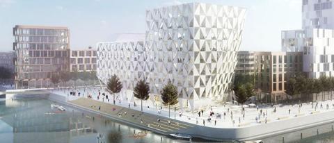 Assemblin står för installationer inom el och VS när kontorshuset Prisma i Helsingborgs nya stadsdel Oceanhamnen växer fram.