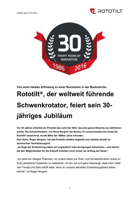 Rototilt®, der weltweit führende Schwenkrotator, feiert sein 30-jähriges Jubiläum