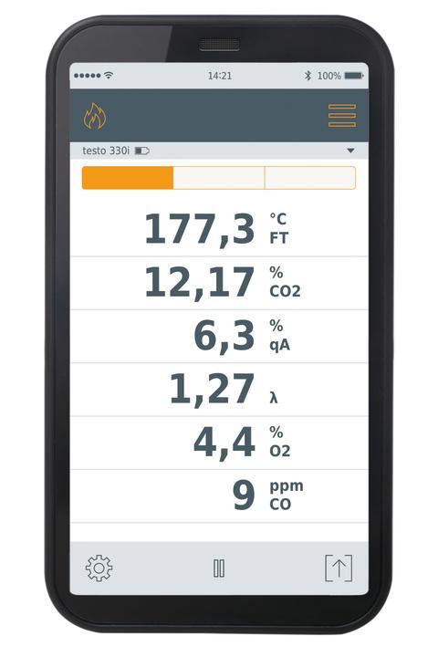 App för rökgasmätaren testo 330i