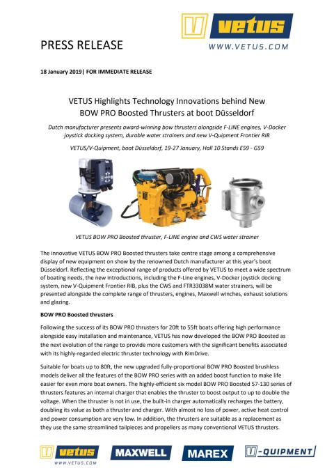VETUS Highlights Technology Innovations behind New BOW PRO Boosted Thrusters at boot Düsseldorf