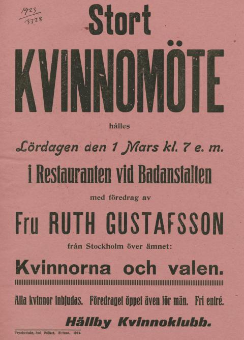 Stort kvinnomöte/Petra Bauer affisch