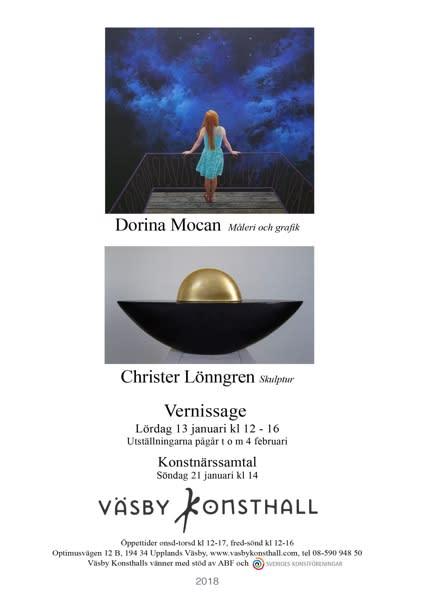 Dorina Mocan, måleri och grafik och Christer Lönngren, skulptur. Vernissage 13 januari 2018 i Väsby Konsthall