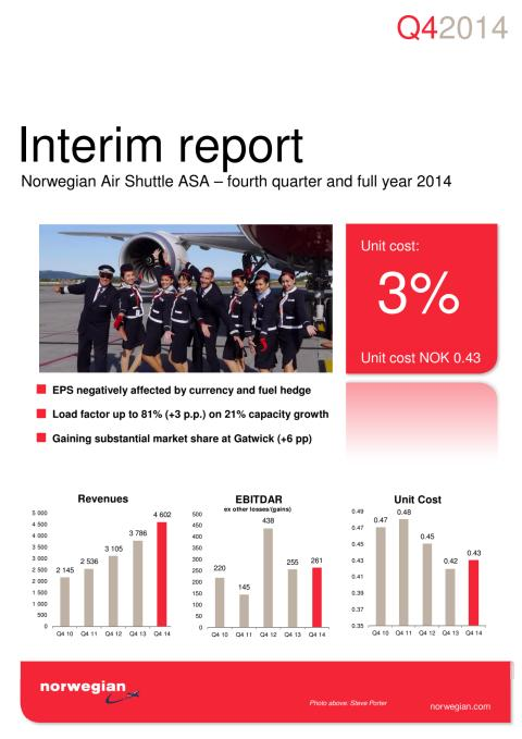 Norwegian Results for Q4 2014