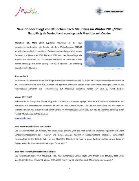 Pressemitteilung: Condor fliegt von München Nach Mauritius im Winter 19/20 - update