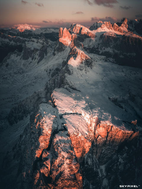 2018 SkyPixel Contest-Nominated Entries-There is a precise point up there in the sky where the mountains almost seem to pose
