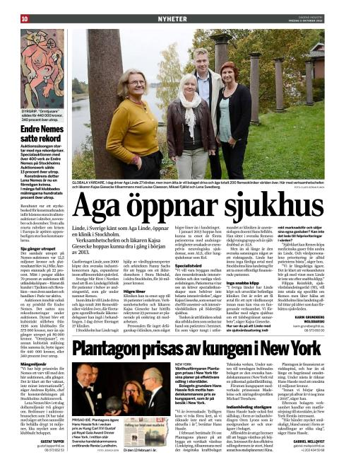 Aga öppnar sjukhus - Dagens Industri 5 okt 2012