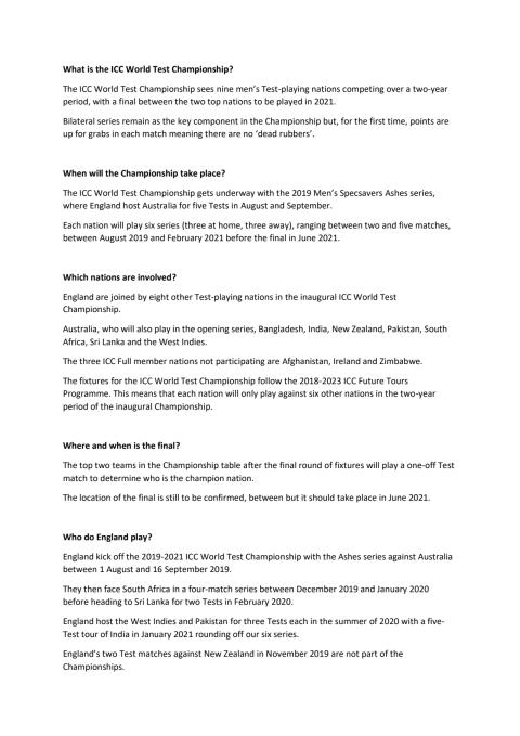 ICC World Test Championship FAQs